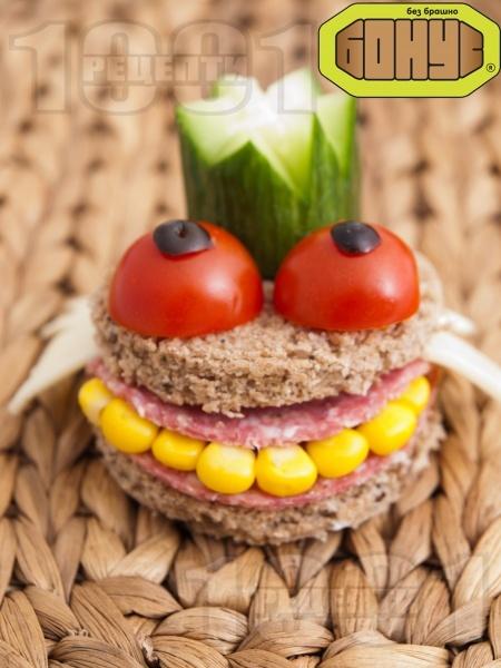 Детски сандвич Жаба Жабурана  - снимка на рецептата